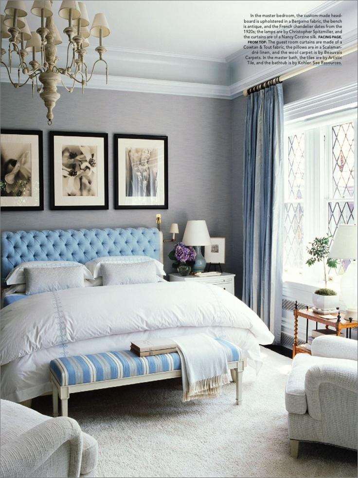 A bacheloretteu0027s feminine bedroom in cool hues