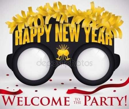 Party Glasses with Golden Streamers and Confetti for New Year