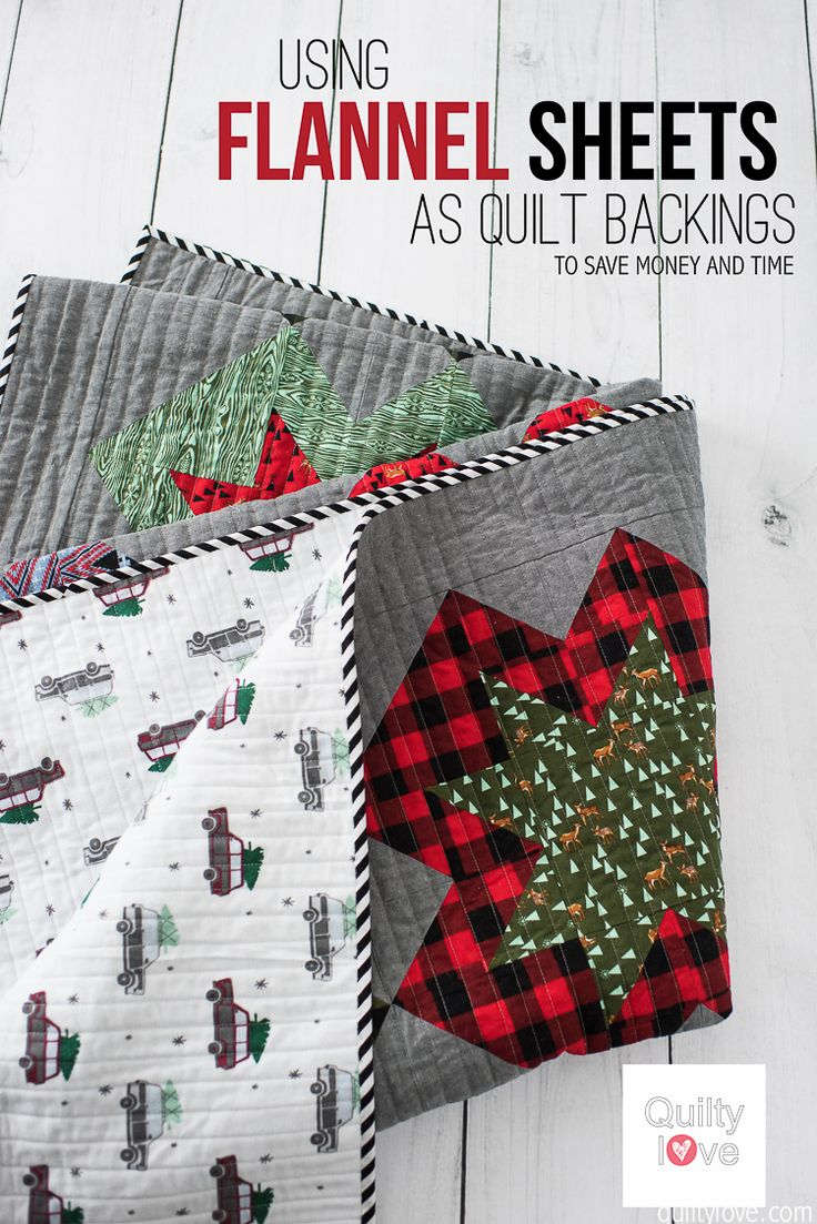 Quilty Love | Save money quilting – Flannel Sheets as quilt backings | http://www.quiltylove.com. Use sheets as quilt backings for warm and cozy quilts this winter.
