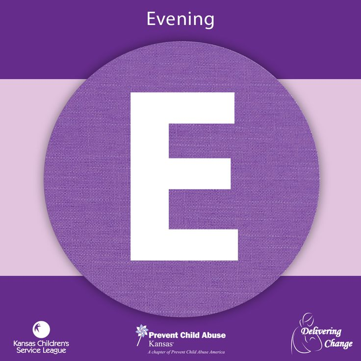 The E in PURPLE stands for evening. Your baby may cry more in the late afternoon and evening. The word Period means the crying has a beginning and end. Have a plan and learn more about the Period of PURPLE Crying®.