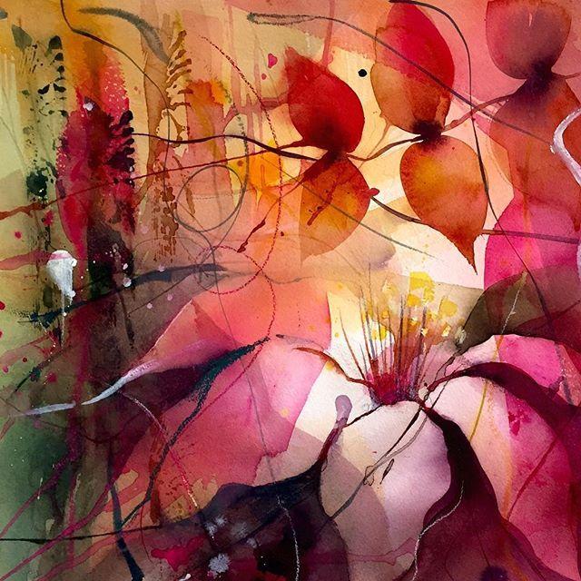 Clematis 55x55 cm #akvarell #watercolour #flower #blomster #gunnelmoheim #röd #konstochfolk #art #konst #akvarellmuseet #inspiring_watercolors #waterblog