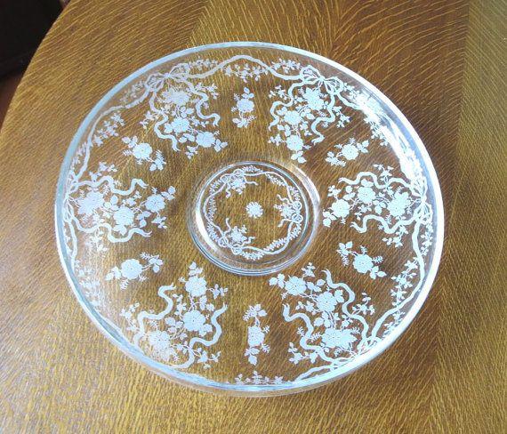 Fostoria Glass Romance Etch Bowl Shallow Serving or Float Bowl