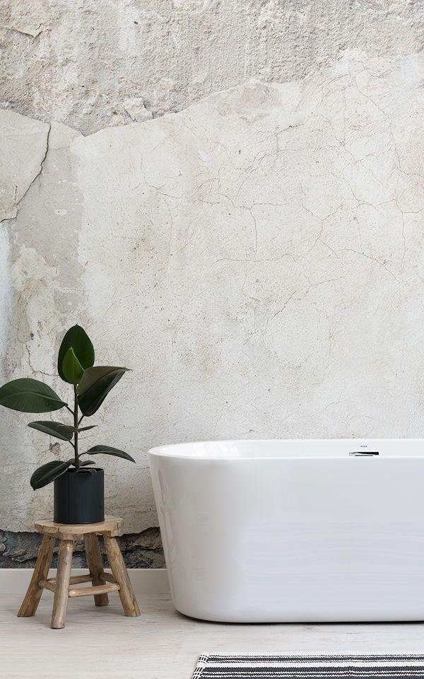 Cracked Concrete Wallpaper Broken Concrete Effect Muralswallpaper Industrial Bathroom Decor Industrial Decor Industrial Bathroom