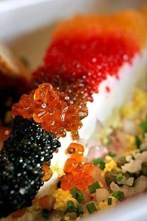 Caviar pie from steelhead gastronomical delights for Canape de caviar