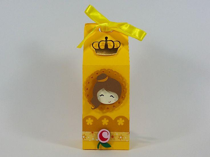 Caixinha de Leite Princesa Bela para decorar e encantar a sua festinha no tema A Bela e A Fera. Festa Princesa Bela - Festa Princesas Disney.