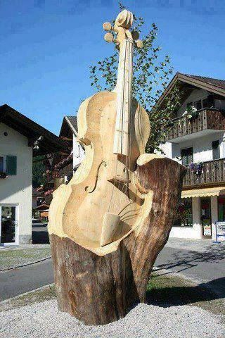 Giant wood carving from a fallen tree of a double bass - cSw - http://www.pinterest.com/claxtonw/4-5-6-strings/ - nice photo pin via stevebeaver