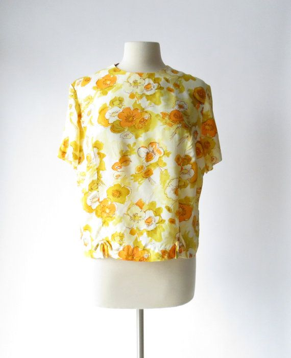 1960s Blouse / Goldblumen Floral Blouse / 60s by SmallEarthVintage