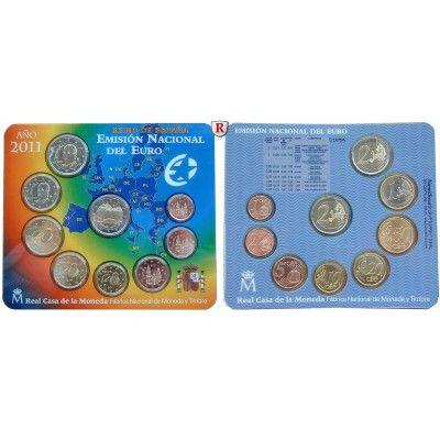 Spanien, Juan Carlos I., Euro-Kursmünzensatz 2011, st: Juan Carlos I. 1975-2014. Euro-Kursmünzensatz 2011. 9 Münzen - 1 Cent bis 2… #coins