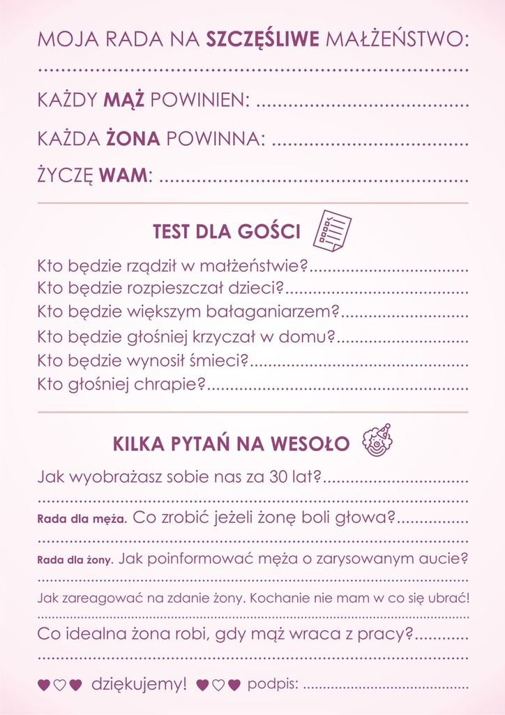 Ankieta Weselna Dla Gosci Dwustronna Pdf Wedding Planner Wedding Planning Polish Wedding