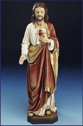 "12"" Wood Carved Resin Sacred Heart of Jesus Statue $39.95"