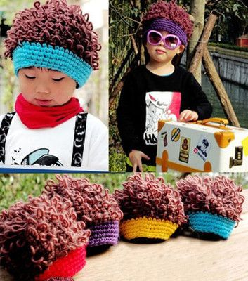 Punk Rock Kid Child Wavy Spiral Curly Faux Hair Knitting Cap Hairpiece Beret Hat   eBay