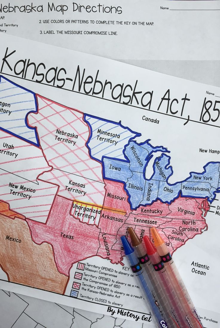Kansas Nebraska Act Map Activity - Use this 4 page activity with your 6th, 7th, 8th, 9th, 10th, or 11th grade classroom and homeschool students. Students will better understand the Kansas-Nebraska Act. They will label and color a map, answer questions, all while incorporating geography into your lessons. Great for your United States History or social studies lesson. {sixth, seventh, eighth, ninth, tenth, eleventh graders - US History - middle school - high school} $