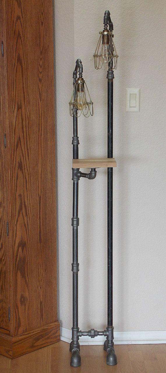 Industrial Floor Lamp with Shelf by Splinterwerx on Etsy