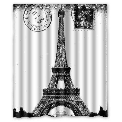 "Custom Frech Paris Eiffel Tower City of Love Black White Shower Curtain 60"" x 72"" - Bathroom Decor(Fabric)"