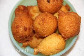 Simple, deep fried balls of cornmeal and flour called hushpuppies.