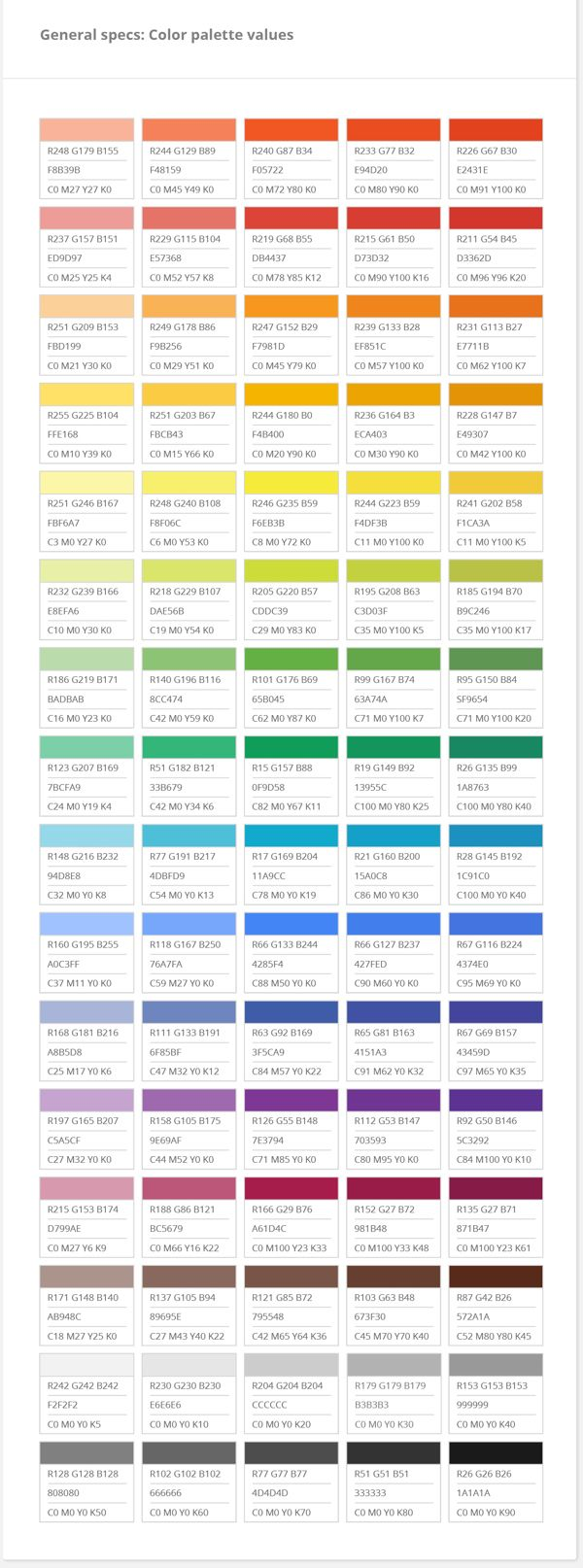 Web colors lime - Google Color Palette
