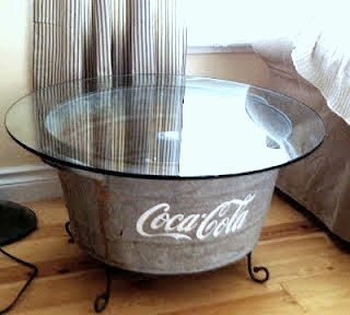 A tub plus patio table glass = cool side table-great idea for patioCoffe Tables, Coffee Tables, Decor Ideas, Side Tables, Wash Tubs, Cocacola, Coca Cola, End Tables, Patios Tables