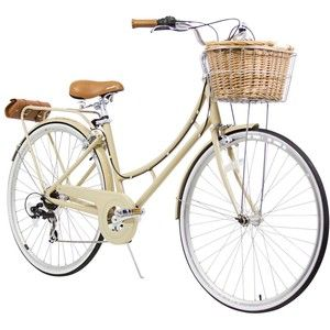"""XDS Nadine City 7-Speed Step-Through Bicycle (w/ Front Basket, Rear Rack, Bag 17""""/700C"""