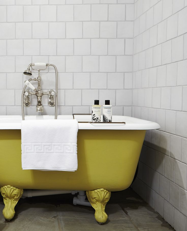 Yellow Roll Top Bath at Babington House | Soho House Bathroom