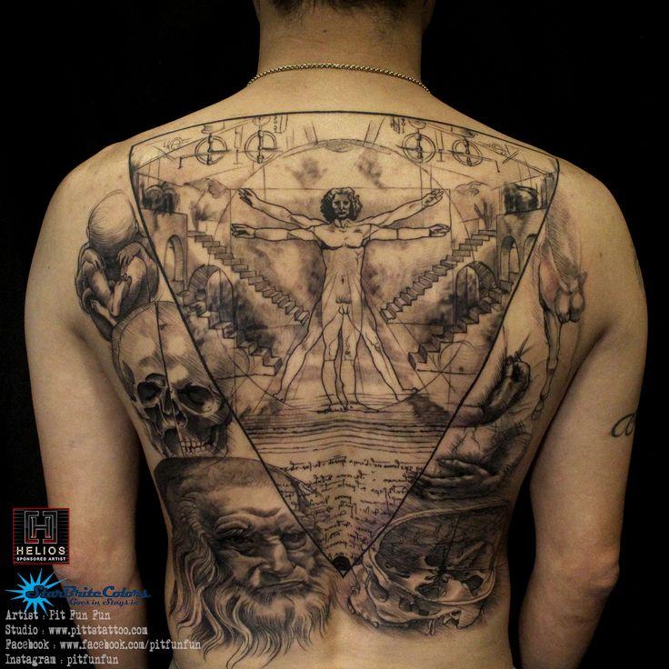 Da vincci artwork , Vitruvian man tattoo by Pit Fun . facebook : fun fun official page , instagram : pitfunfun