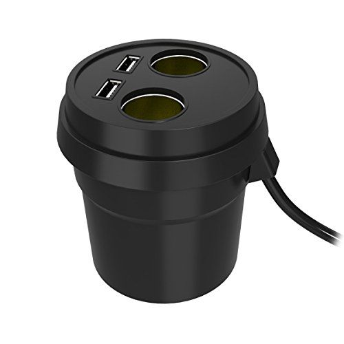 Cheap Car Cup Charger KOMRT Dual USB Ports Car Charger Car Power Adapter with 2-Socket Cigarette Lighter for iPhone iPad Android Samsung GPStablet Best Selling