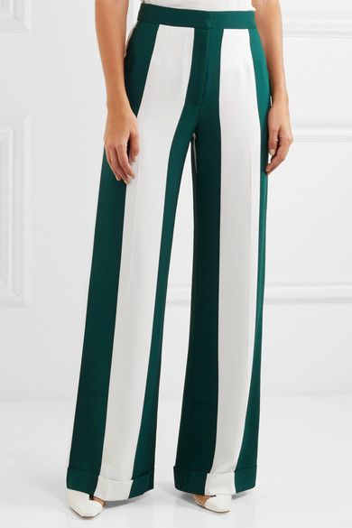 Monse - Striped Silk-blend Crepe Wide-leg Pants - Forest green