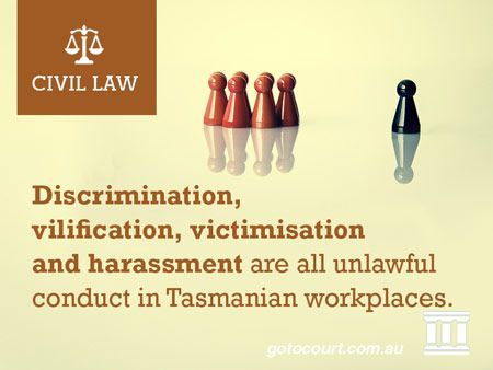 Discrimination, vilification, victimisation and harassment are all unlawful conduct in Tasmanian workplaces.