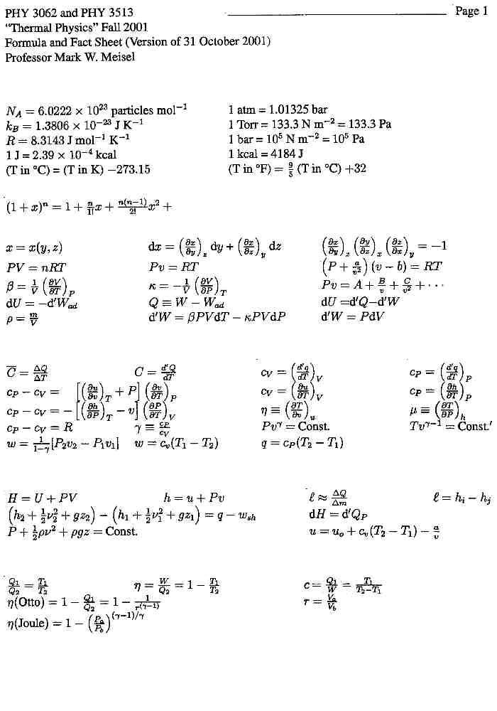 High School Physics Equation Sheet