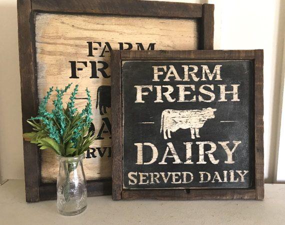 Farm Fresh Dairy daily wood sign/ rustic old by RusticBarndecor