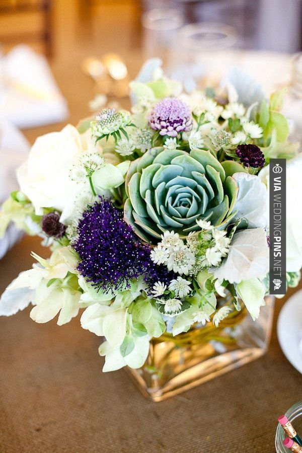 Like this! - floral & succulent centerpieces   CHECK OUT MORE GREAT GREEN WEDDING IDEAS AT WEDDINGPINS.NET   #weddings #greenwedding #green #thecolorgreen #events #forweddings #ilovegreen #emerald #spring #bright #pure #love #romance