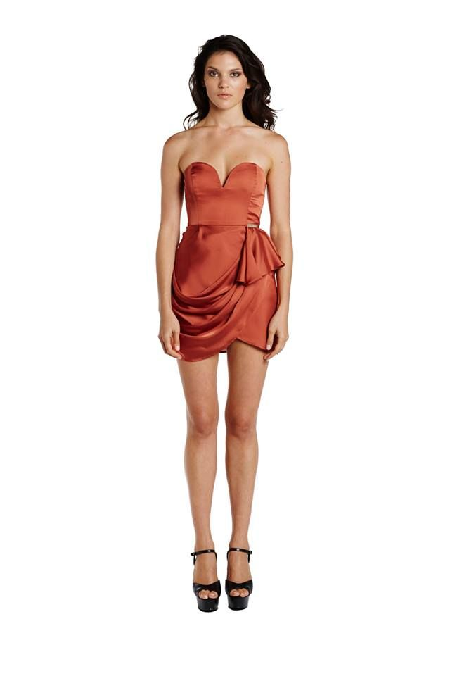 All Spiced Draped Strapless Dress