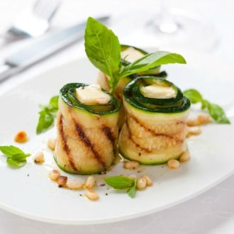 Zucchini Wrapped Tomato and Basil Risotto