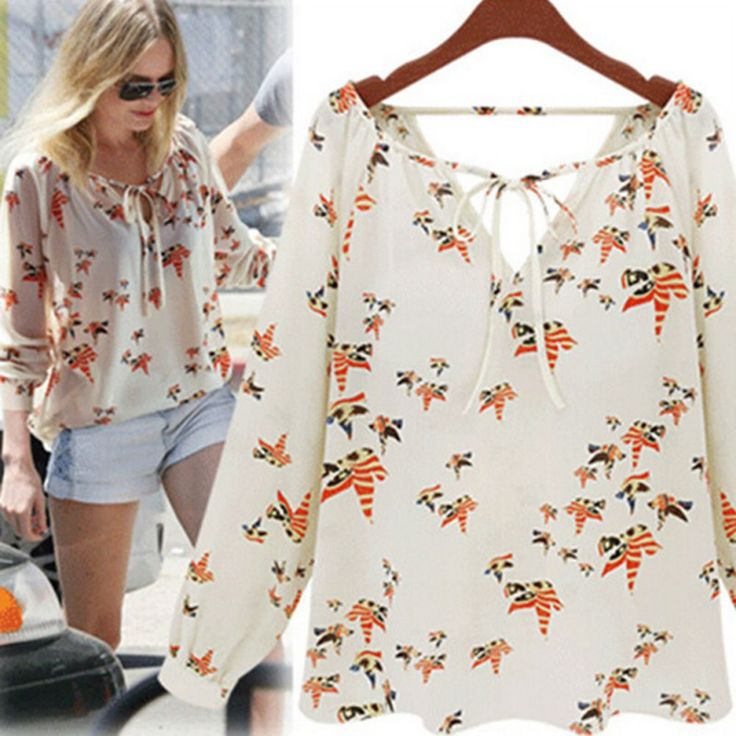 2,91 EUR, inkl. Versand: Women Fashion Chiffon Top Blouse Short Long Sleeve Dove Print Casual Loose Shirt Blusa Feminino-in Blouses & Shirts from Women's Clothing & Accessories on Aliexpress.com | Alibaba Group