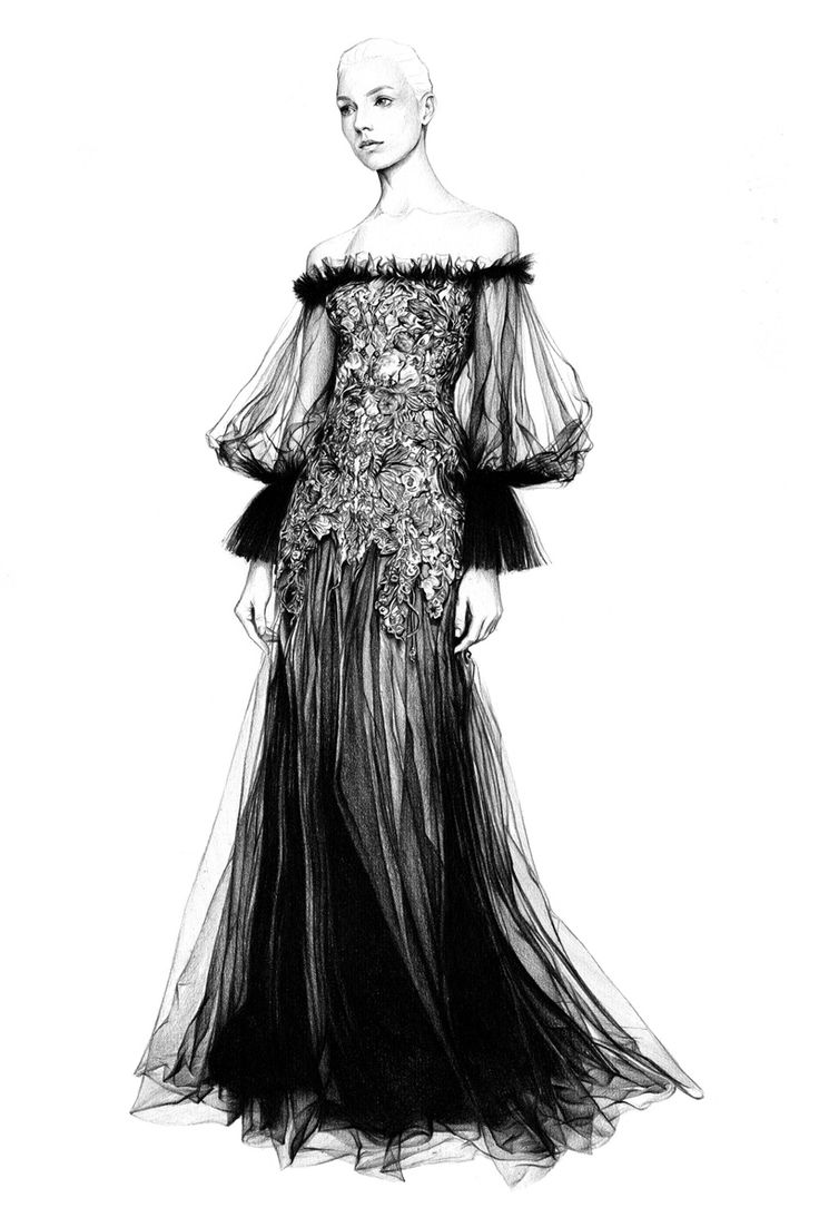 Fashion illustration of an Alexander McQueen dress; black white fashion drawing // T.S. Abe