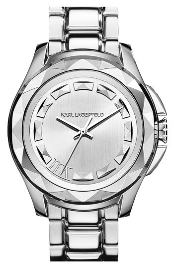 KARL LAGERFELD '7' Beveled Bezel Bracelet Watch, 44mm available at #Nordstrom