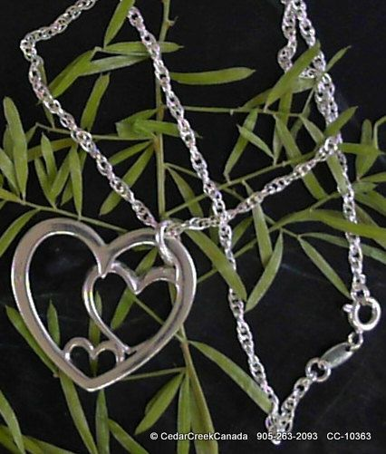 Triple Heart 925 Sterling Silver Pendant       by CedarCreekCanada