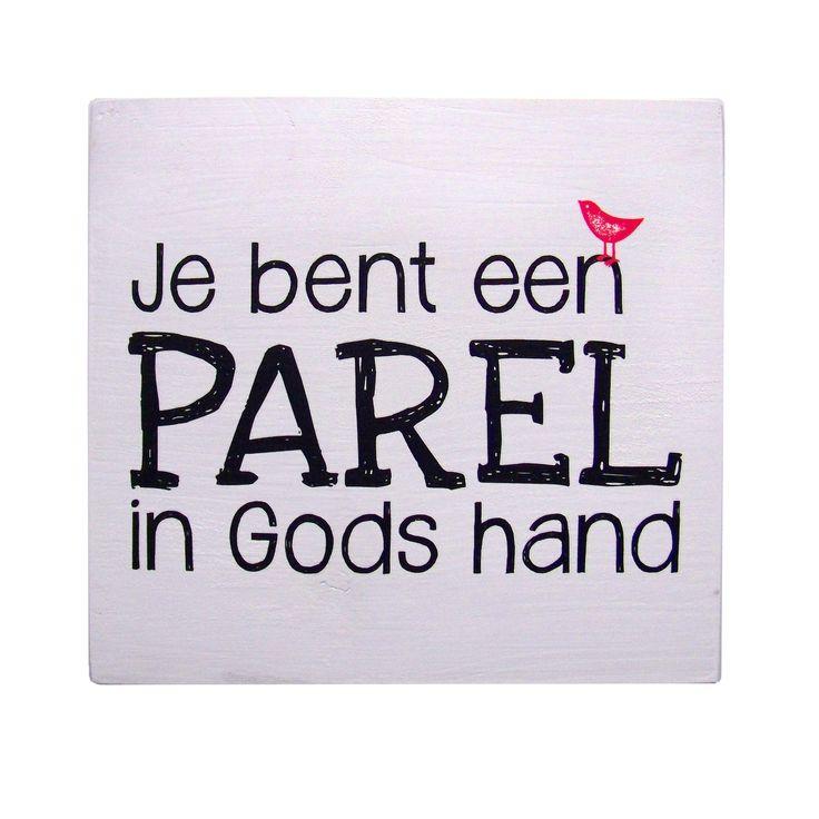 Je bent een parel in Gods hand (roze vogeltje).