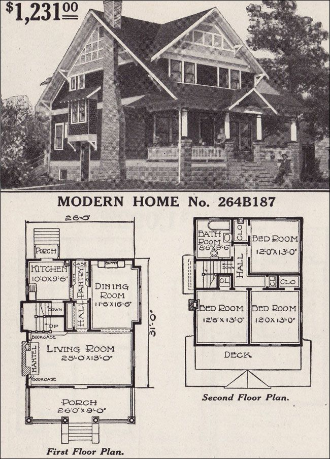 Half timbered two story craftsman style bungalow 1916 for 1920 s craftsman bungalow house plans