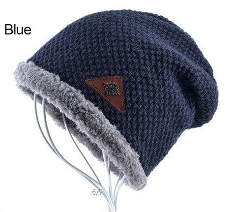 Mens hat winter skullies snowflake logo knitted wool hat plus velvet hip hop cap gorro thicker bonnet beanie for men hats touca