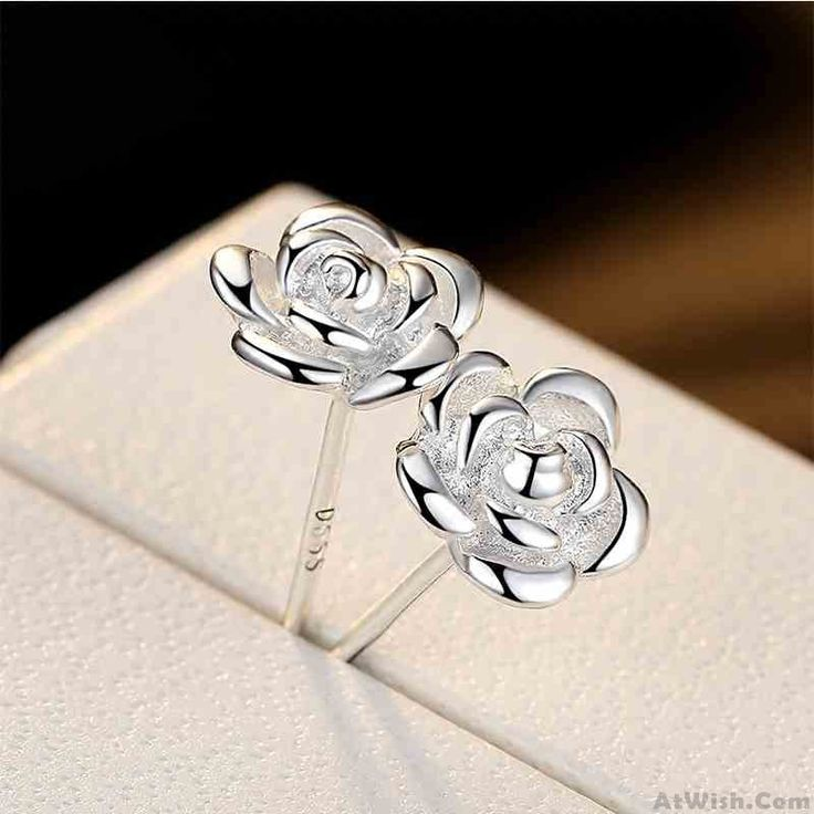 Wow~ Awesome Fashion Rose Flower Shaped Bauhinia Silver Earrings Studs! It only $19.99 at www.AtWish.com! I like it so much<3<3!