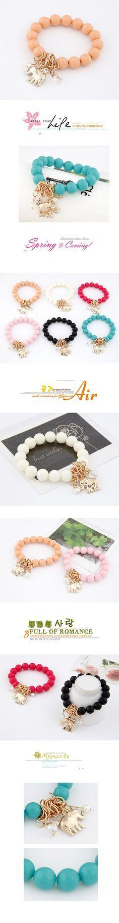 Wholesale (Verde), cuentas pendientes de fósforo fácil del color del oro del elefante pulsera elástica   Callesetas