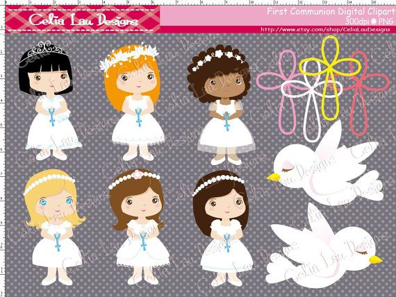 Girl First Communion Clipart / girl 1st by CeliaLauDesigns on Etsy