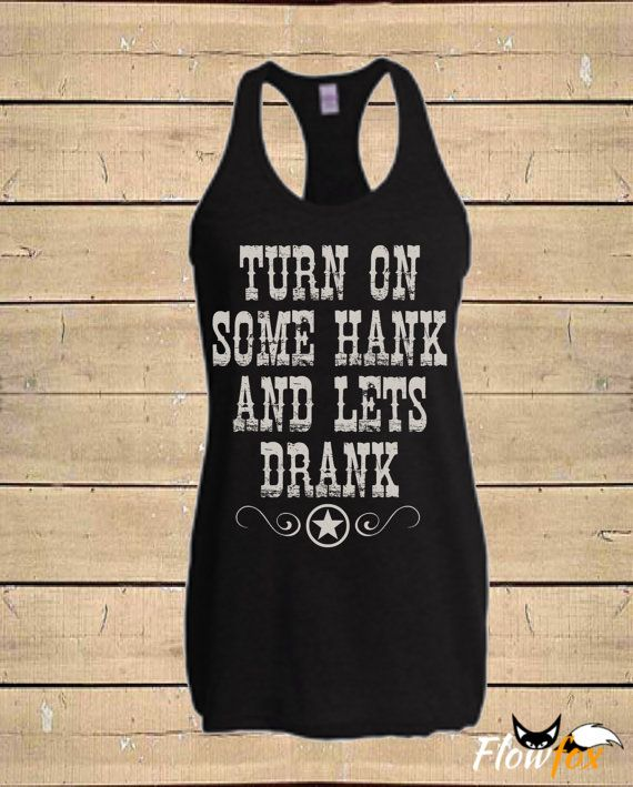 Flowfox Designs HANK DRANK Tank Top. This is a soft comfy tri-blend tank top with a racerback cut and vintage style print. Each item in our shop
