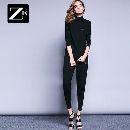 ZK цельный костюм моды сплошной цвет полосатый свитер пальто Тонкий был тонкий…