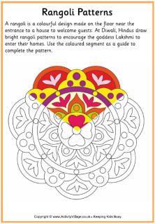 week 27, Rangoli craft ideas and coloring sheets