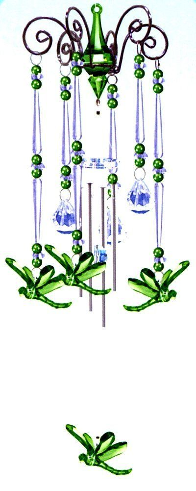 Wind Chime Emerald Green Dragonfly Dance, Chandelier Mobile Style, 3 Acrylic Prisms Creates a Sparkling Colorful Effect in Bright Sunlight, Indoor - Outdoor Decor 20 Inches : Patio, Lawn & Garden