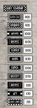 These daily schedule cards will help keep you organized and your students informed. Each editable set includes  Header card (approx 7.7x 2.3 inches),15 subject cards (approx 5 x 2.3 inches) 16 time cards (approx 3 x 2.3 inches).This set is editable, you choose your own subjects and times to suit your needs.The default font on these labels is Helvetica and is colored white on the subject cards and black on the time cards - you can choose your own text, favorite font and colors when…
