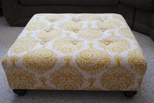 make your own ottoman? love. : Coffee Tables, Diy Ottomans, Living Rooms, Upholstered Ottomans, Yellow Ottomans, Ottomans Redo, Tufted Ottomans, Large Ottomans, Diy Projects