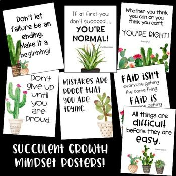 These growth mindset posters are perfect for your succulent themed classroom! Just print and frame! I have included these 13 posters in JPEG and PNG format. You can print each one vertically and horizontally. Check the preview to take a look at all of the posters!