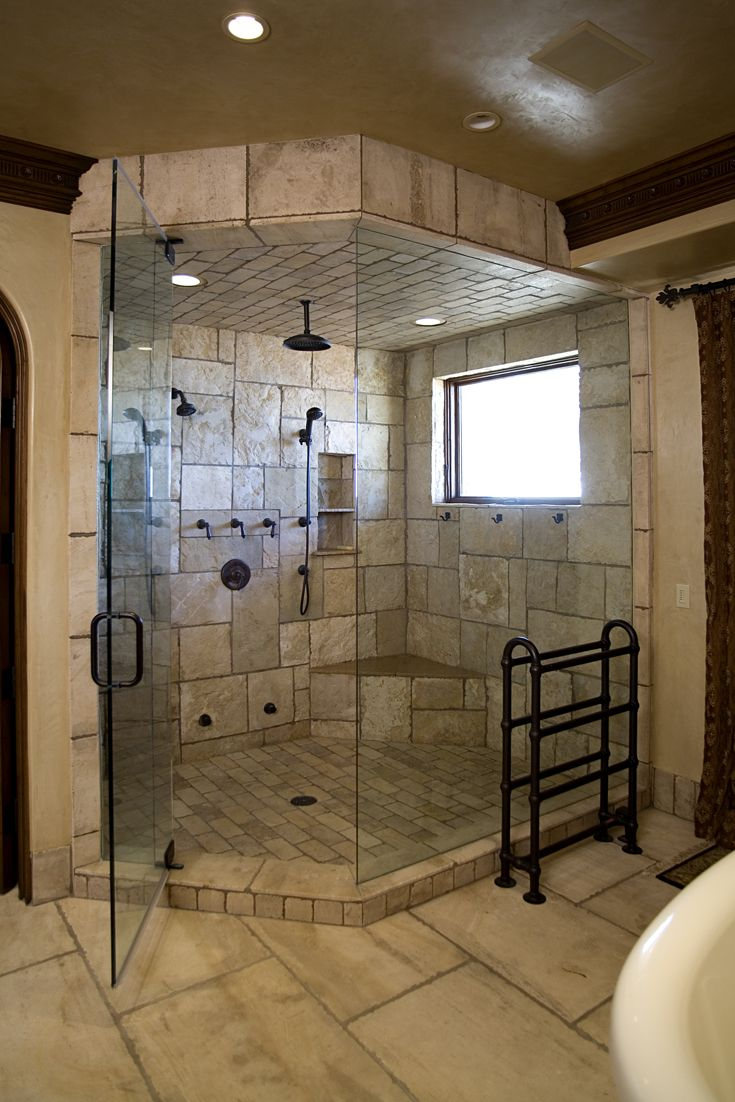 Master Bathroom: Mediterranean, Tuscan, European Architecture, Tuscan, European Architecture, hardware, bronze faucets & fixtures, lighting, recessed can lights, glass enclosed shower, stone shower wall, stone shower floor, wood window, stained crown molding, stone floor